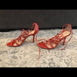 Sexy red/orange strappy heels